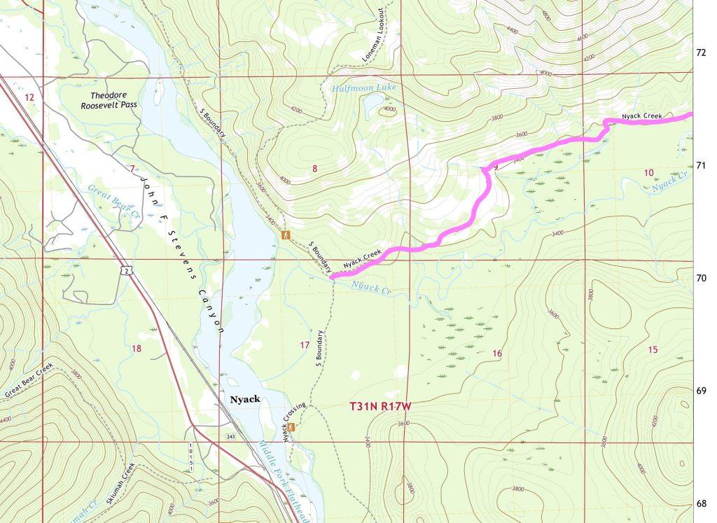 Location of Nyack Creek Trail